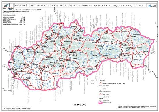 Prehľadová mapa SR - vyznačené DZ, kde platí zákaz pre vozidlá nad 12t