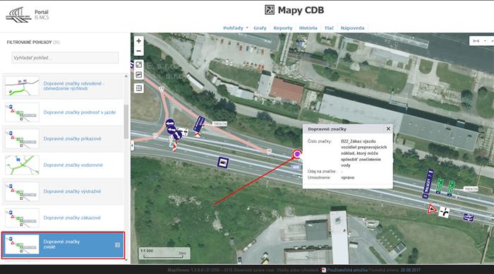 Mapy CDB -mapový pohľad zvislé dopravné značenie