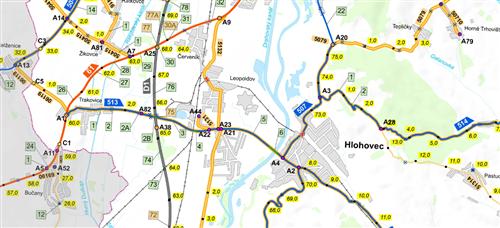 Mapa okresu 50 000 - vyznačený správca CK