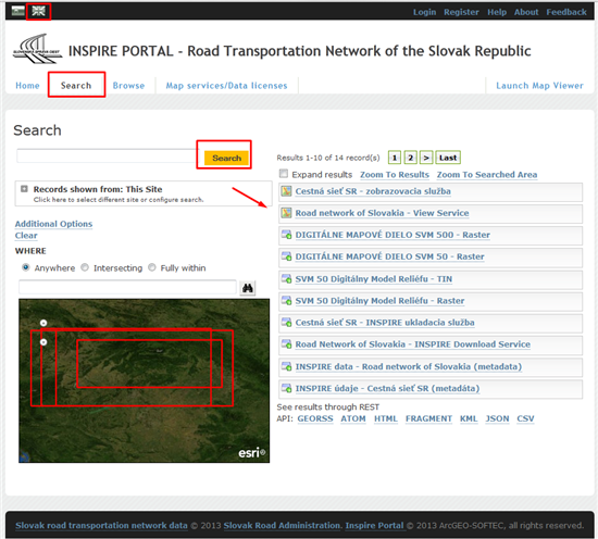 INSPIRE PORTAL - Road Transportation Network of the Slovak Republic