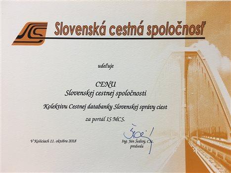 Cena Slovenskej cestnej spoločnosti za rok 2018 - kolektívu CDB