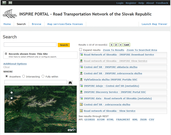 INSPIRE PORTAL - Road Transport Network SR , search