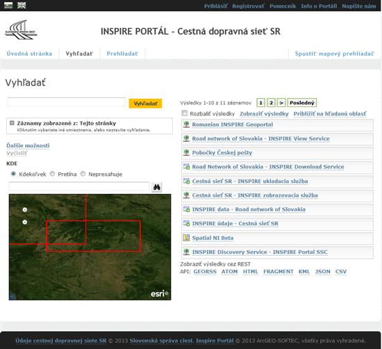 INSPIRE PORTÁL - Cestná dopravná sieť SR , vyhľadanie