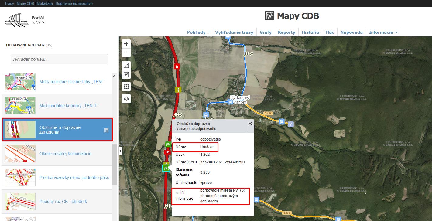 Mapy CDB - Obslužné a dopravné zariadenia