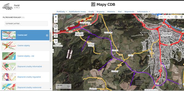 Mapy CDB - Nový úsek D1