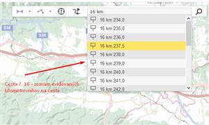 Hľadanie- dopravnej značky kilometrovník na ceste