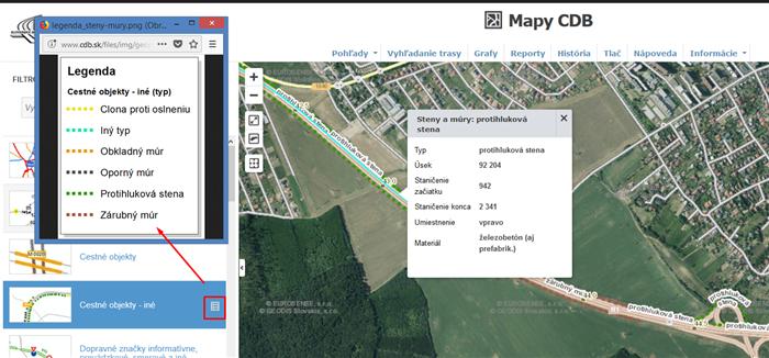 Mapové pohľady - Cestné objekty, iné