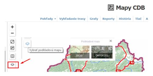 Mapy CDB - výber podkladovej mapy