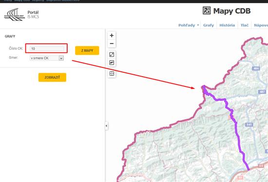 Grafy - Mapy CDB, výber cesty