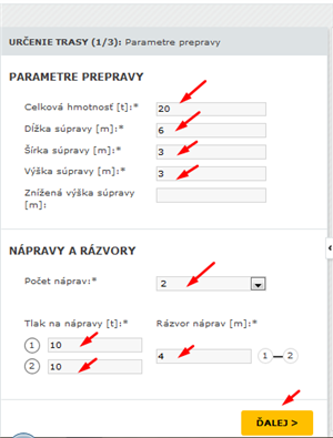 Trasy - zadanie parametrok