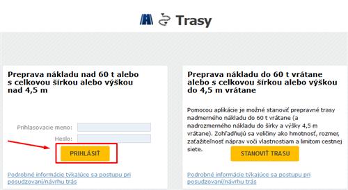 TRASY - nad 60 t, registrácia žiadateľa