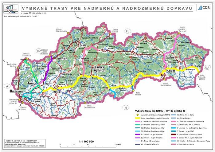 Vybrané trasy pre NMRD - SR