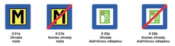 Dopravné značky II 21a,b a II 22 a-b