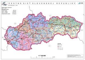 Cestná sieť SR - administrativna mapa