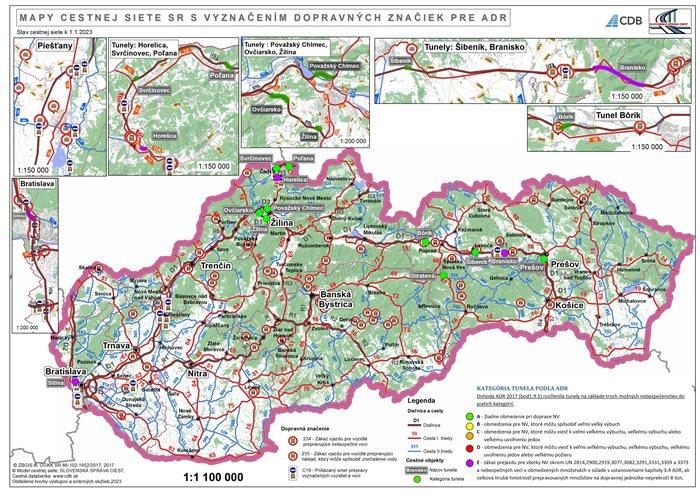 Mapa s vyznačením značiek pre ADR