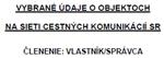 Listovať v knihe: Vybrané údaje o objektoch - vlastník - správca k 1.1.2012